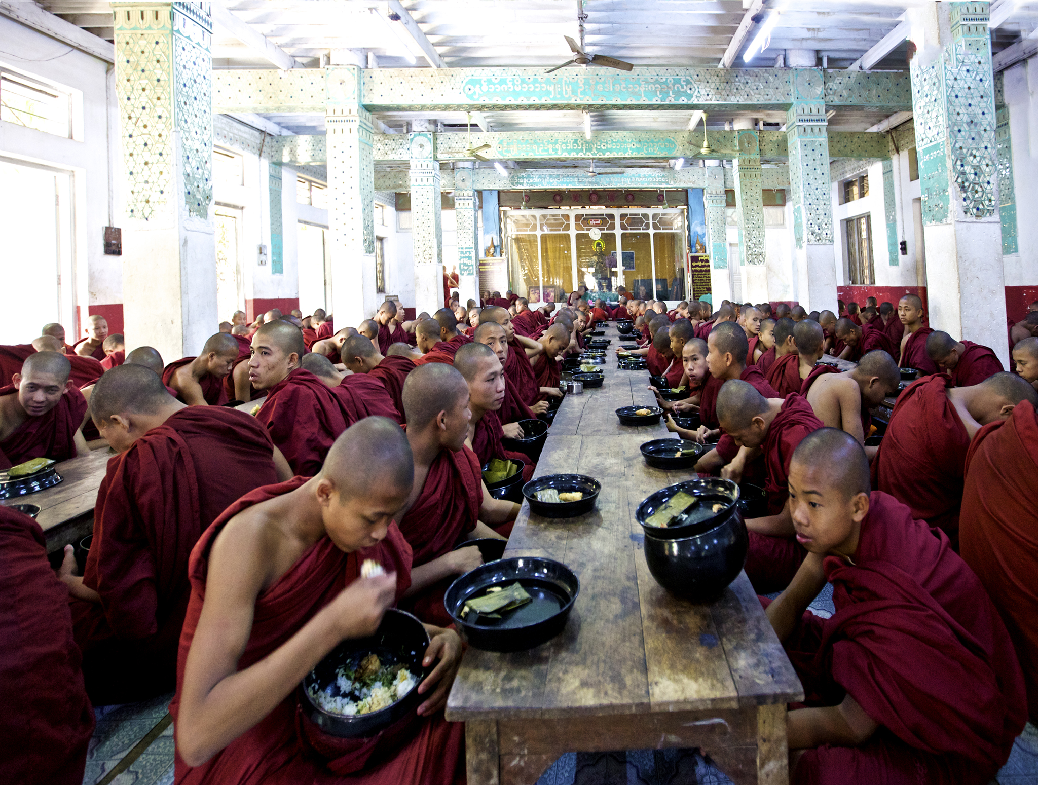 Students lunch time at Monastery -Myanmar